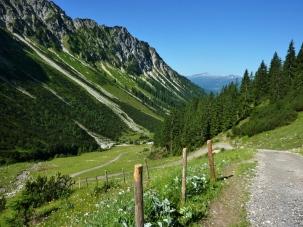 Anstiegsserpentinen vor dem Schattenberg un dem Hohen Ifen am Horizont