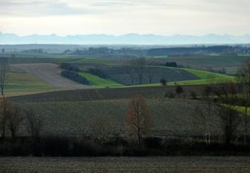 Tertiäres Hügelland bei Kissing an einem Föhntag